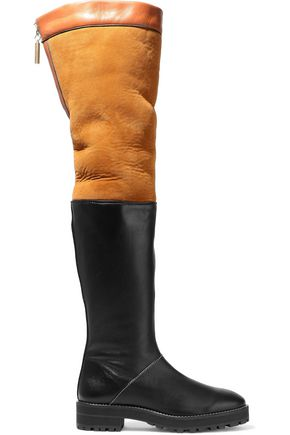 STUART WEITZMAN Two-tone shearling and leather over-the-knee boots