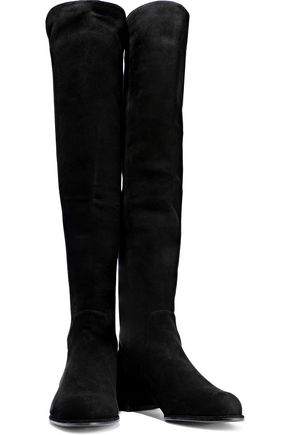 STUART WEITZMAN Suede and stretch-knit knee boots