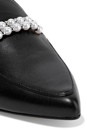 STUART WEITZMAN Faux pearl-embellished metallic leather slippers