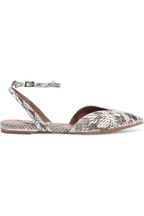 TABITHA SIMMONS Vera chain-embellished elaphe point-toe flats