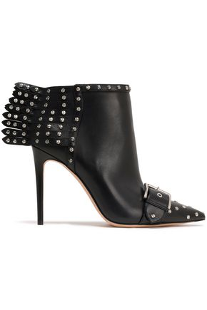 ALEXANDER MCQUEEN Fringed studded leather ankle boots