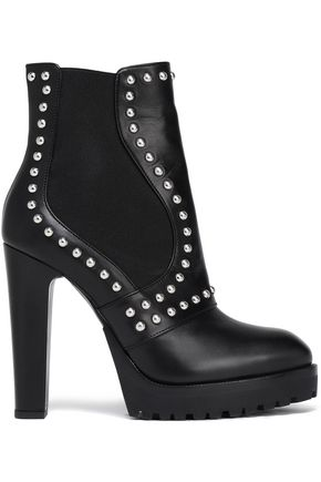 ALEXANDER MCQUEEN Studded leather platform ankle boots