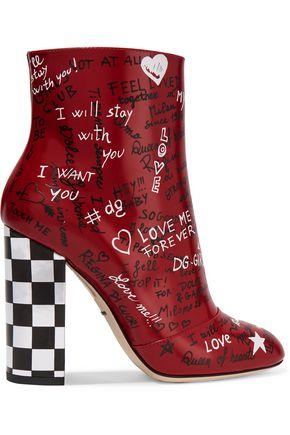 DOLCE & GABBANA حذاء بوت إلى الكاحل من الجلد مطبع برسومات