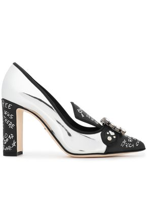 DOLCE & GABBANA Embellished mirrored leather pumps