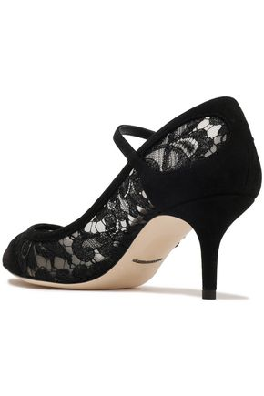 DOLCE & GABBANA Guipure lace and suede Mary Jane pumps