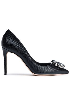 DOLCE & GABBANA Bellucci crystal-embellished lizard-effect leather pumps