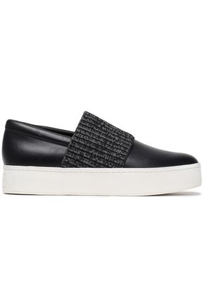 VINCE. Ribbed-knit trimmed leather slip-on sneakers