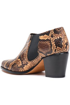 VINCE. Hamilton snake-effect leather ankle boots