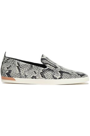 VINCE. Vero snake-print leather slip-on sneakers
