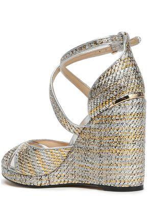 JIMMY CHOO Metallic woven wedge sandals