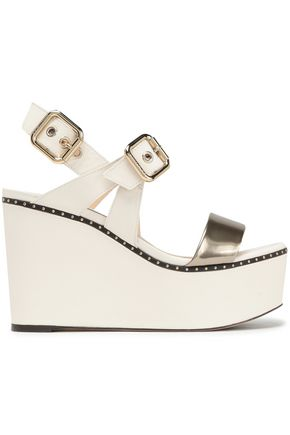 JIMMY CHOO Alton studded metallic and smooth leather platform wedge sandals
