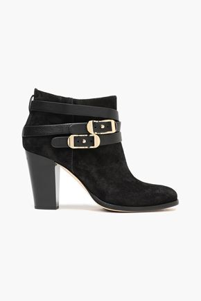 JIMMY CHOO Melba leather-trimmed suede ankle boots