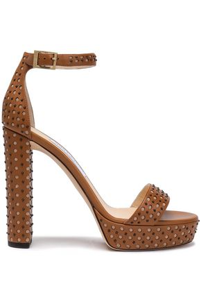 JIMMY CHOO Studded laser-cut leather platform sandals