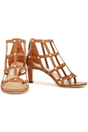 JIMMY CHOO Tina 65 studded cutout leather sandals