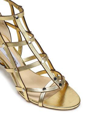 JIMMY CHOO Cutout studded metallic leather sandals