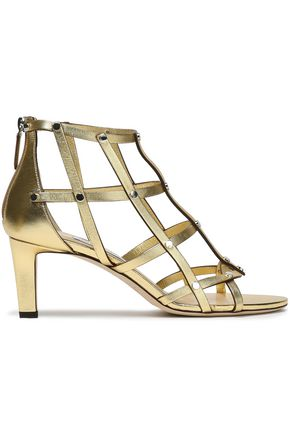 JIMMY CHOO Cutout studded metallic leather sandals