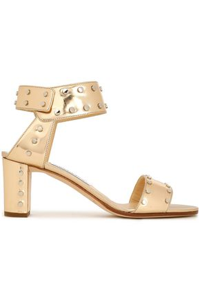JIMMY CHOO Veto studded mirrored metallic leather sandals