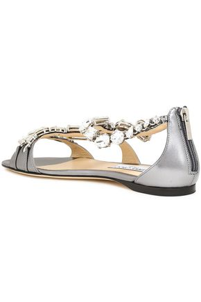 JIMMY CHOO Karima crystal-embellished metallic leather sandals