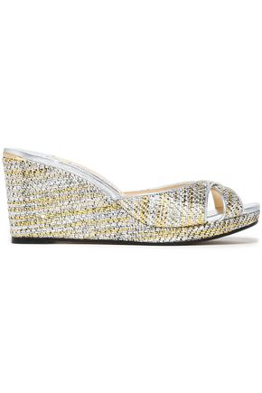 JIMMY CHOO Metallic woven wedge sandals