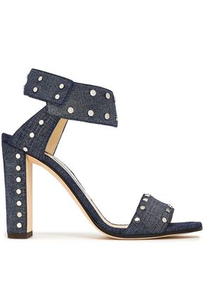 JIMMY CHOO Veto 100 studded denim sandals