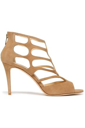 JIMMY CHOO Ren 90 cutout suede sandals