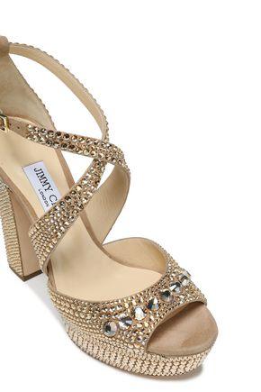 JIMMY CHOO Crystal-embellished suede platform sandals