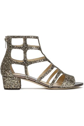 JIMMY CHOO Cutout glittered leather sandals