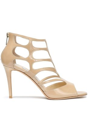 JIMMY CHOO Ren 85 cutout patent-leather sandals