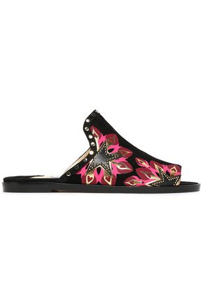 JIMMY CHOO Hustle embellished printed suede and textured-leather slides