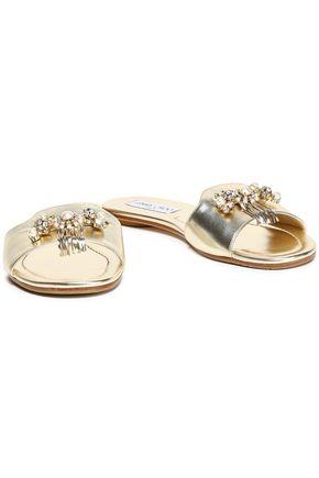 JIMMY CHOO Naya embellished metallic leather slides