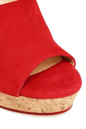 JIMMY CHOO Neyo cutout suede platform wedge sandals