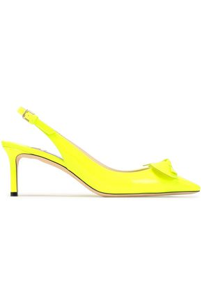 JIMMY CHOO Blare bow-embellished neon leather slingback pumps