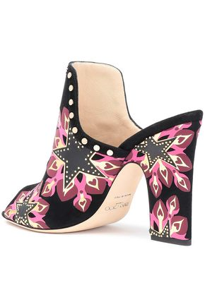 JIMMY CHOO Studded printed suede mules