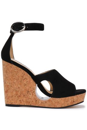 JIMMY CHOO Neyo cutout suede platform wedge sandals