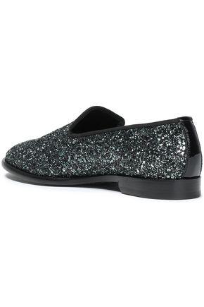 JIMMY CHOO Grosgrain-trimmed glittered leather slippers