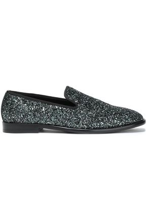 JIMMY CHOO Grosgrain-trimmed glittered leather slippers