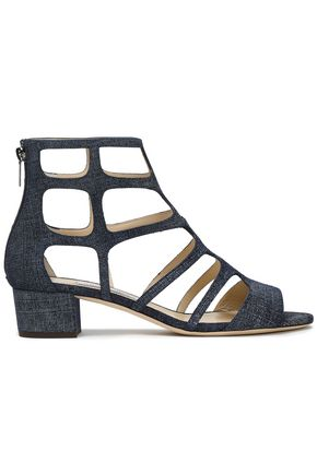 JIMMY CHOO Cutout denim sandals