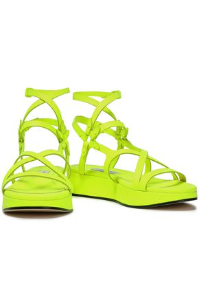 JIMMY CHOO Neon leather platform sandals
