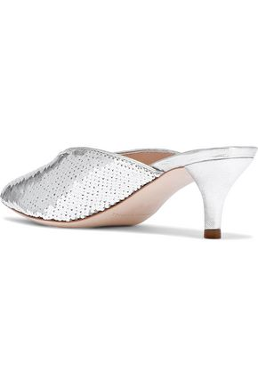 LOEFFLER RANDALL Juno metallic leather-trimmed sequined woven mules