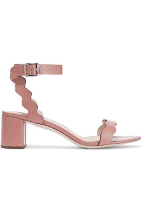 LOEFFLER RANDALL Emi scalloped glossed-leather sandals
