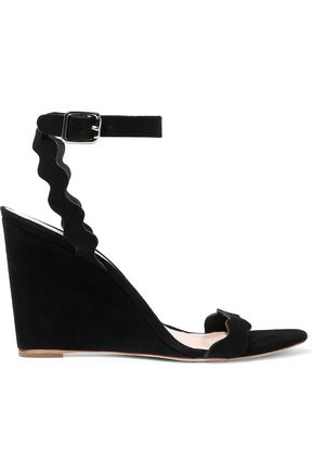 LOEFFLER RANDALL Piper scalloped suede wedge sandals