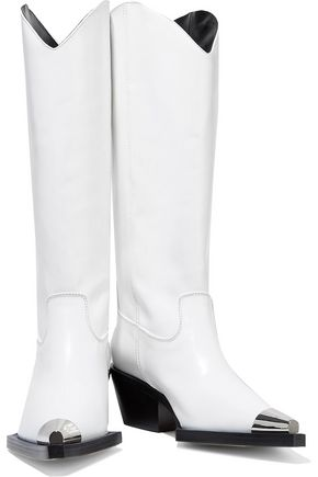 Helmut Lang Woman Glossed-Leather Knee Boots White