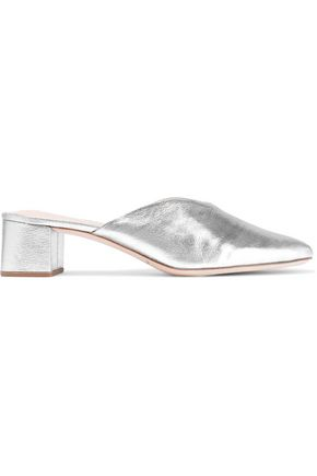 LOEFFLER RANDALL Lulu metallic textured-leather mules