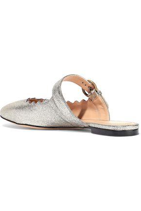 CHLOÉ Lauren metallic cracked-leather slippers