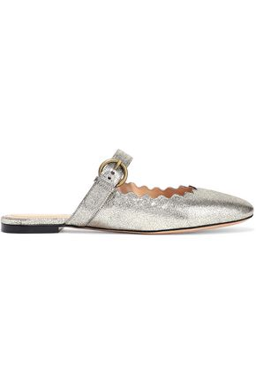 CHLOÉ Lauren metallic cracked-leather slippers