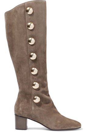 CHLOÉ Orlando button-embellished suede knee boots
