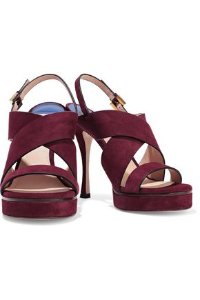 STUART WEITZMAN Suede platform slingback sandals
