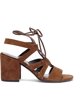 Lace Up Cutout Suede Sandals by Stuart Weitzman