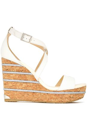 JIMMY CHOO Pela embroidered metallic suede platform wedge sandals