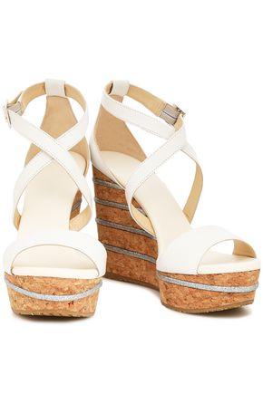 JIMMY CHOO Pela embroidered metallic suede platform wedge sandals
